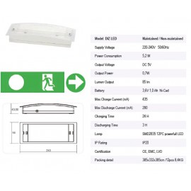 DIZLED Slim IP20 5,2W 985lm 5h 240x90x43 készenléti
