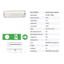 WALL2 IP65 4W IP65 3h 400lm 270x100x54 készenléti